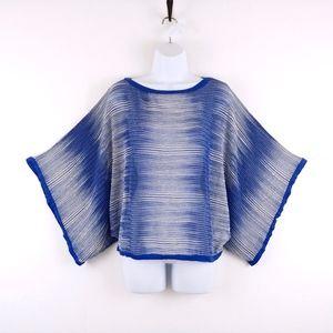 Studio Y Blue & White Open Knit Slinky Coverup Top